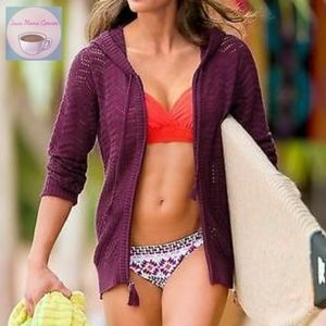 Athleta Full Zip Crochet Shoreline Hoodie Purple